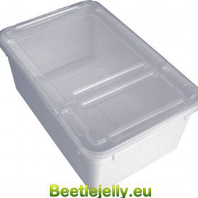 Braplast Rectangular box 1.3L - White base, clear foldable lid & airholes