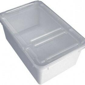 Braplast Rectangular box 1.3L - White base, clear foldable lid & airholes